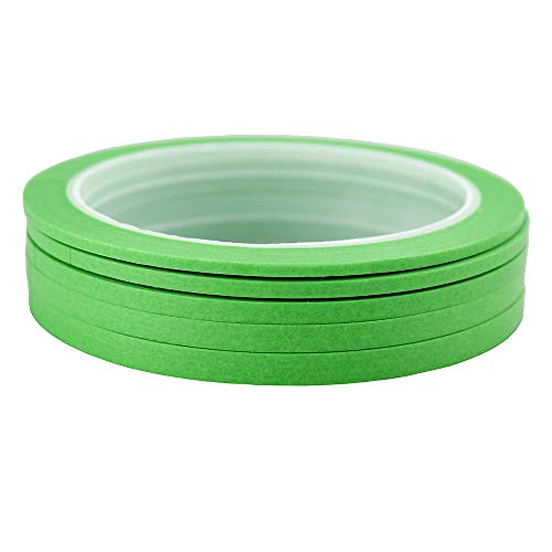 JINBING 6Rolls Washi Masking Tape for DIY Nail Arts Drawing Pattern Making 2mm 2.5mm 3mm 4mm 5mm 6mm x 25m (Green)