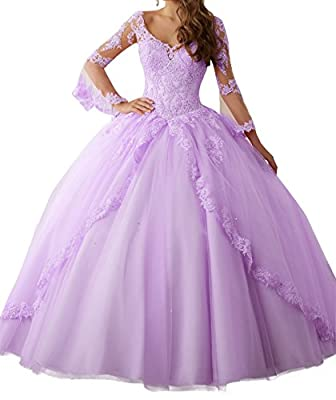Peony Long Sleeve Lace Quinceanera Dresses Formal Prom Dresses Ball Gown