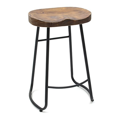 Caveen Vintage Bar Stool Retro Bar Seat Industrial Dining Chair 25.6 Inch Wooden Review