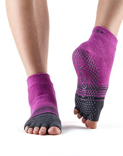 Toesox Half Toe Low Rise Grip Socks Mulberry Stripe DKzma9b