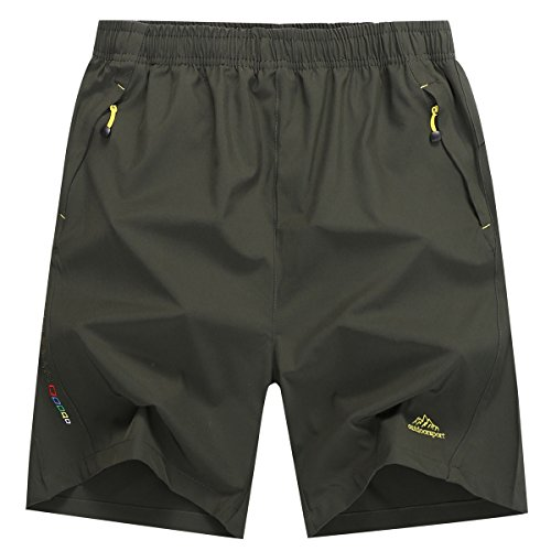 LOHASCASA Men's Hiking Shorts (Army Green,US - Us Army Running Shorts
