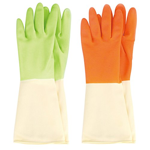 MJ 2 Pairs Triple Coating Durable Rubber Latex Two Tone Cleaning Wash Gloves M -