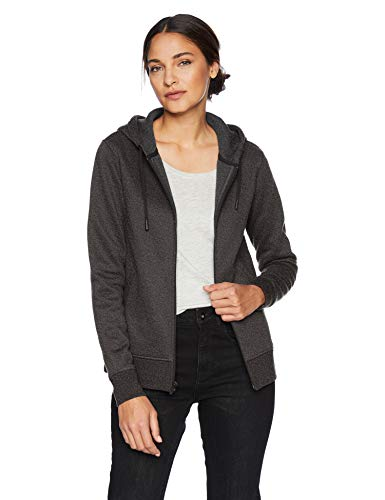 (Amazon Essentials Women's Water-Repellent Thermal-Lined Full-Zip Hoodie, Charcoal Heather, Large)
