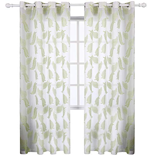 KEQIAOSUOCAI 2 Piece Green Jacquard Voile Grommet Window Kitchen Sheer Curtain with Leaves Embroidery for Bedroom, Living Room or Kids Room 52x95Inch 2Panels