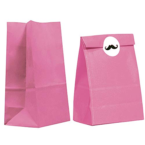 40CT Biodegradable, Food Safe Ink & Paper, Premium Quality Paper (Thicker), Paper Bag, Kraft Paper Sack, Goody Bags, Treat Sacks, Perfect for Party Filled with Small Favors (Small, Hot Pink)