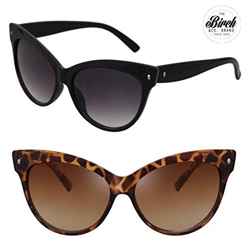 BIRCH's High Pointed Vintage Cateye Retro Mod Bold Cat Eye Fashion Sunglasses (Black)