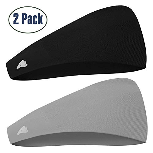 COOLOO Mens Headband 2 Pack Guys Sweatband, Sports Headband for Working Out, Running, Crossfit and Dominating Your Competition-Performance Stretch & Moisture Wicking for Men Women Unisex Gym Fits (Sports Sweatbands)