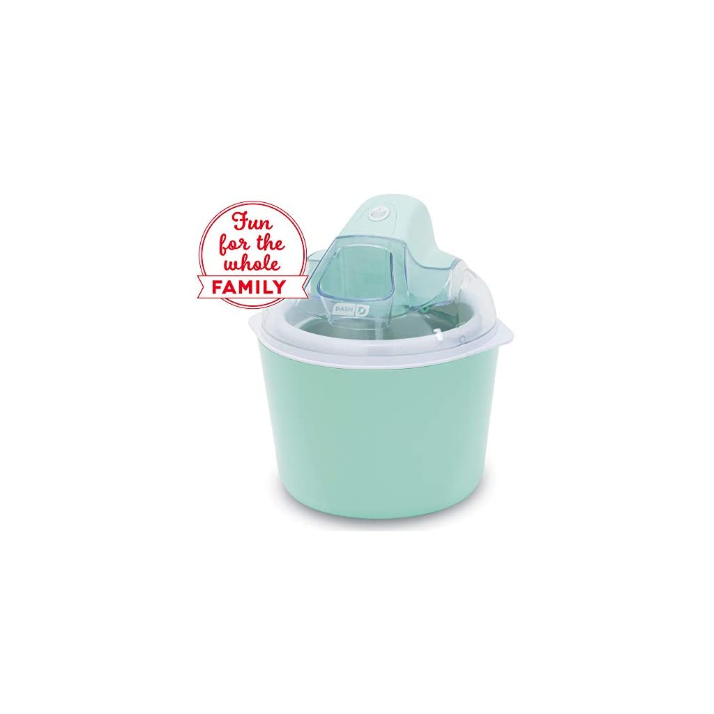 Dash DIC001RD Deluxe Ice Cream Frozen Yogurt & Sorbet Maker With Easy Ingredient Spout, Double-Walled Insulated Freezer Bowl & Free Recipes, 1 quart, Red