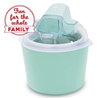 Dash DIC001AQ Deluxe Ice Cream Frozen Yogurt & Sorbet Maker With Easy Ingredient Spout, Double-Walled Insulated Freezer Bowl & Free Recipes, 1 quart, Aqua