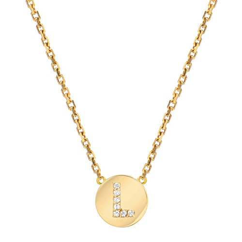 Mini Mini Jewels 14k Yellow Gold Brilliant Diamond Set Letter L Initial Round Frame Necklace Diamond Initial Pendant Set