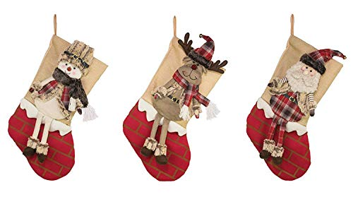 Hanna's Handiworks Wintery Characters on Chimney 21 Inch Polyester Christmas Stockings Assorted Set of 3 ()