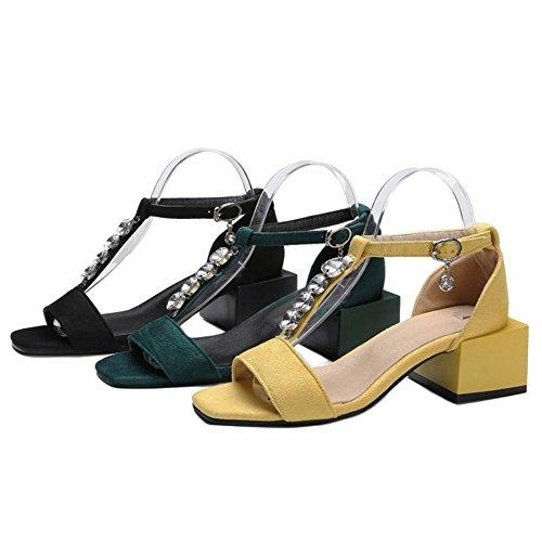 de amarillo Sandalias gran mujer y Materail grueso SJJH en tamaño sandalias elegantes de ante Zapatos para con tacón 4FwWOqB