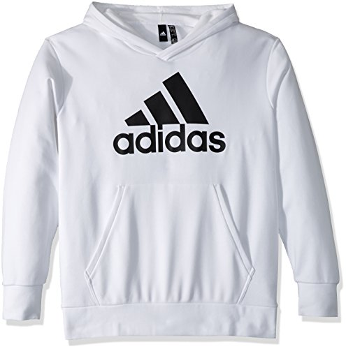 adidas Men's Athletics Essentials Linear Pullover Hoodie, White/Black, - Womens Adidas Hoodie