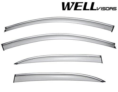 WellVisors Chevy Malibu 13-15 & 16 Limited Sleek Window Visor Smoke Chrome Trim