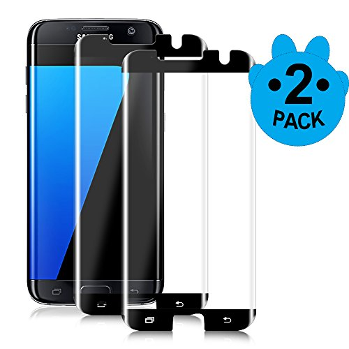 Black-[2 Pack]S7 Edge Screen Protector,Full Screen Coverage,9H Hardness,Anti-Scratch,HD Ultra-clear,Bubble Free,Tempered Glass Screen Protectors Compatible With Samsung Galaxy S7 Edge Screen Protector
