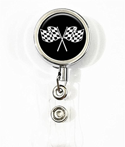 RhyNSky Checkered Flag Print Business ID Badge Card Holder, Retractable Badge Reel -236 ()