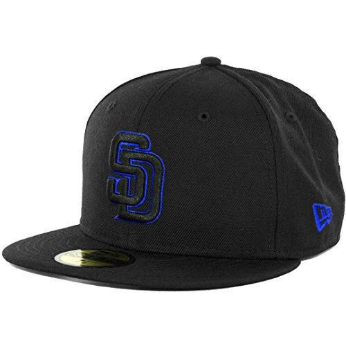 New Era 59Fifty San Diego Padres Fitted Hat (Black/Black/Royal Blue) Men's Cap