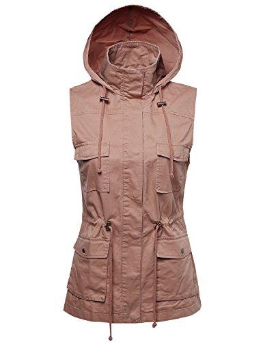 Made by Emma Women's Sleeveless Safari Military Utility Drawstring Hoodie Vest Jacket