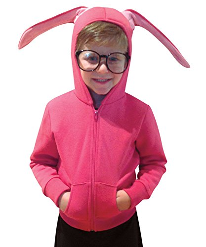 Junior Bunny Costumes (Rasta Imposta Men's Juniors Hoodie Christmas Story Bunny, Pink/Black, One Size)