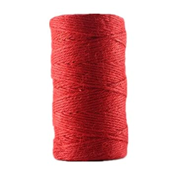 Red Y.P.Selected 100 Meters Colourful Hemp Natural Jute Twine Hessian String Cord 2mm