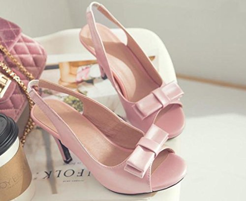 Stöckel Absatz Peep Bowknot VECJUNIA Pink Damen Sandalen Sweet Schuhe Toe wtUIURqT