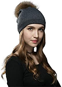 Giveaway: LITHER Women Winter Kintted Beanie Hats with Real Raccoon…