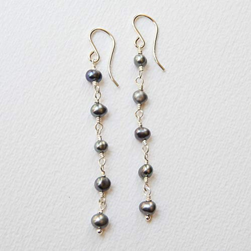 Peacock Gray Cultured Freshwater Pearl Earrings in Sterling Silver (Freshwater Cultured Peacock Pearl)