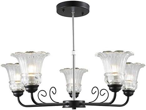Garwarm 5 Light Contemporary Chandelier Black Pendant Lighting
