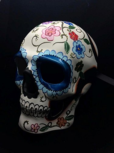 Sugar Skull Masks (Colorful White and Blue Floral DOD Sugar Skull Style Halloween Mask)