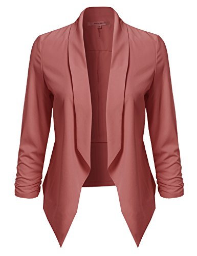 Awesome21-Womens-Solid-Open-Front-Shirring-Sleeve-Blazer