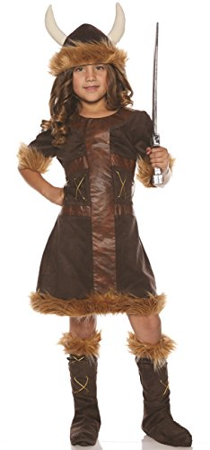 Underwraps Little Girl's Little Girl's Viking Costume Set Childrens Costume, Brown, Small]()