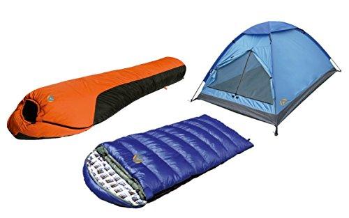 Alpinizmo High Peak USA Kodiak 0F & Water Proof 0F Sleeping Bags 3 Men Tent Comb Set, Blue/Orange, One Size ()