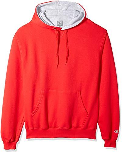 Scarlet Pullover Sweatshirt (Champion Men's Cotton MAX Pullover Hoodie, Team Scarlet Small)