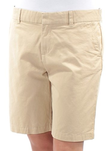 Twill Ladies Shorts Front Flat (Tommy Hilfiger Womens Twill Flat Front Bermuda, Walking Shorts Beige 10)