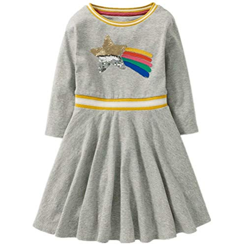 Tsyllyp Girls Kids Star Magic Sequins Dress Cotton Crewneck Long Sleeve Dresses 140 (8-9YRS)