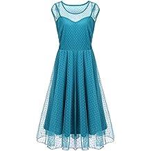 Meaneor Women Plus Size Summer O-Neck Sleeveless A-Line Polka Dot Lace Dress
