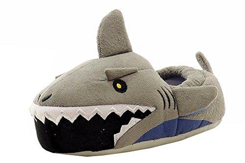 Stride Rite Boy's Lighted Mouth Shark Slipper, Grey, 11/12