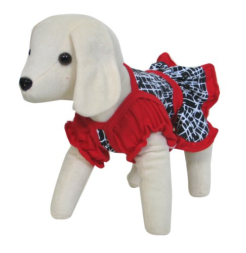 UP Collection Red and Black Graphic Printed Dress for Dogs, Small
