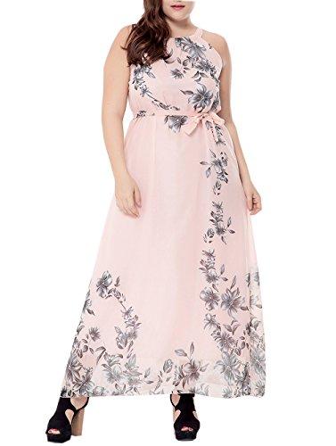 pgooodp Women's Floral Sundress Sleeveless Maxi Party Beach Dress Pink US 14W