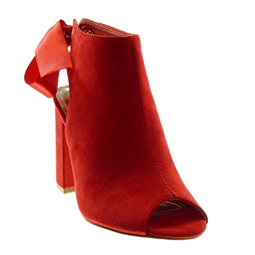 Angkorly Women's Fashion Shoes Ankle Boots - Booty Sandals - Open - Peep-Toe - Satin Lace Block High Heel 10.5 cm Red xouE1OlX