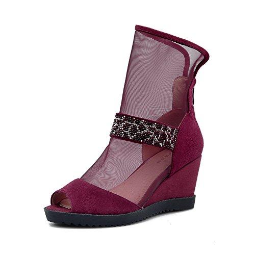 Amoonyfashion Kvinna Peep Toe Kick-häl Mjukt Material Diverse Färg Zipper Sandaler Rödvin