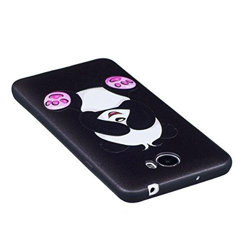 Funda Huawei Y5 II,SainCat Moda Alta Calidad suave de Relieve Pintura TPU Silicona Suave Funda Carcasa Caso Parachoques Diseño pintado Patrón para Carcasas Huawei Y5 II TPU Silicona Flexible Candy Col Panda