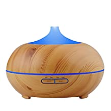 TWOPAGES 300ml Humidifier Ultrasonic Aroma Diffuser Wood Grain Essential Oil Diffuser Whisper Quiet Aromatherapy Diffuser with 7 Color Changing LED Lights, 4 Timer Settings, Adjustable Mist Mode, Auto Shut-off for Home, Office, Bedroom, Living Room, Baby Room, Yoga and Spa Room