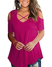 SMALNNIE Women's Criss Cross Cold Shoulder V Neck Short Sleeve Fall T Shirts