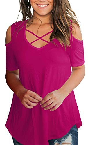 - Cold Shoulder Tops for Women Summer Criss Cross Short Sleeve T Shirts Plain Tee Blouse Fushia S