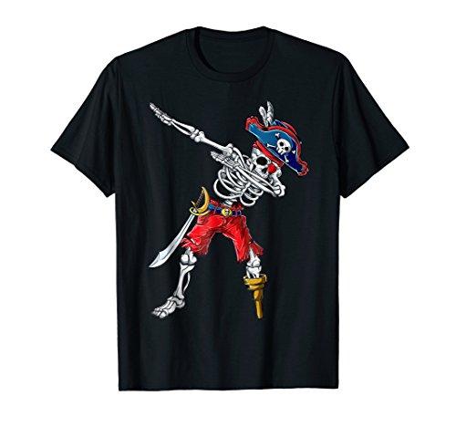 Dabbing Skeleton Pirate T Shirt Halloween Kids Boys