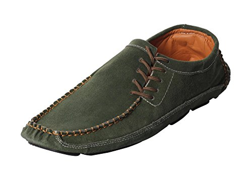 CAIHEE Mens Leather Lace up Casual Slip On Loafers Walking Driving Boat Shoes (41, Green)