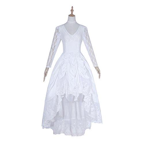 Womens Pinnacle Black Gothic Vintage Floral Lace Asymmetric Party Dress (XX-Large, White)