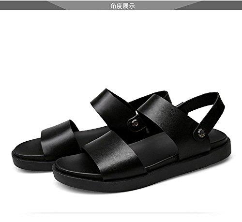 Sommer neue Männer Freizeit Sandalen Einfache britische Stil Sandalen Männer große Größe Dual Gebrauch Schuhe, schwarz, UK = 6.5, EU = 40