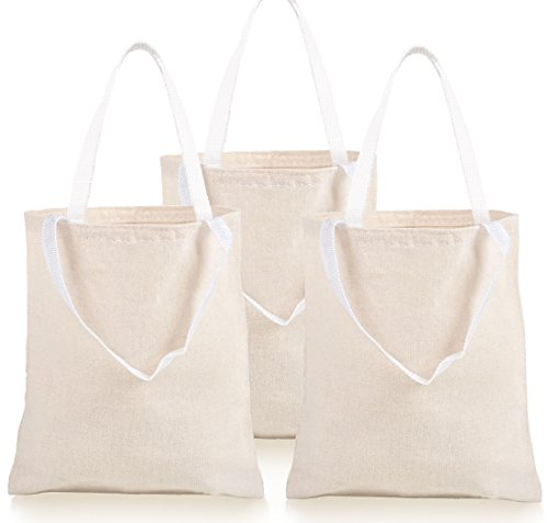 GIFTEXPRESS Pack of 12, 12.75″H x 10.65″ W Natural Color Canvas Tote Bag/Canvas Craft Bags/Canvas Grocery bags